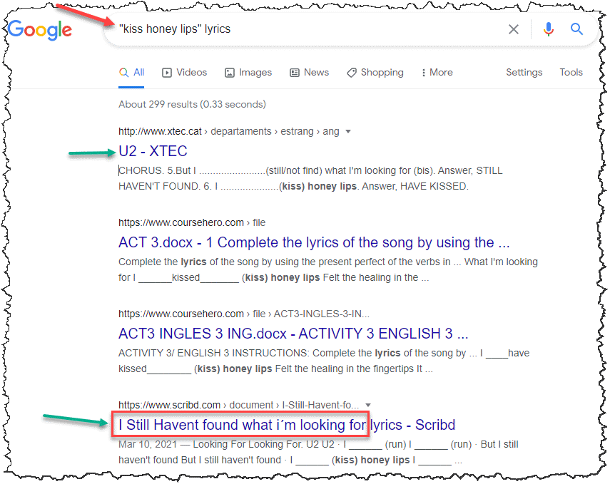 quoted search result