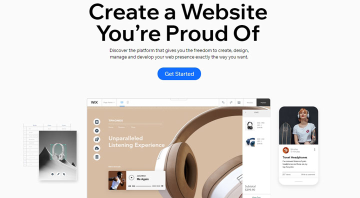 build a free website with wix sitebuilder