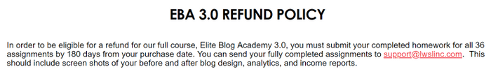 What Is Elite Blog Academy refund
