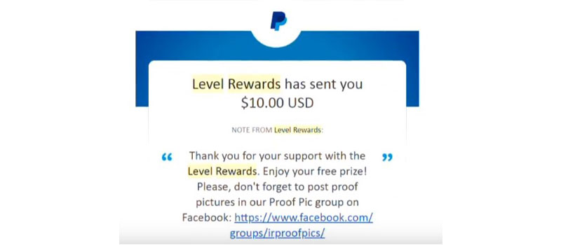level rewards earning proof
