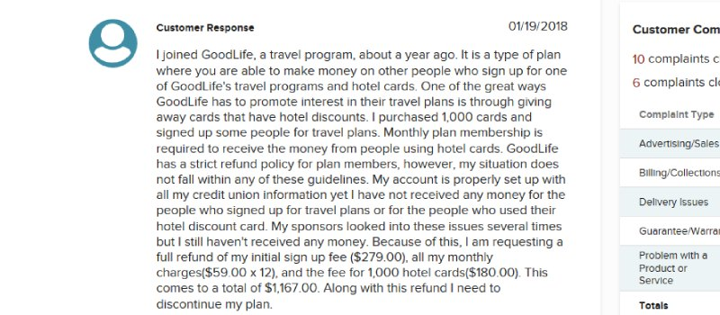 goodlife usa complaint
