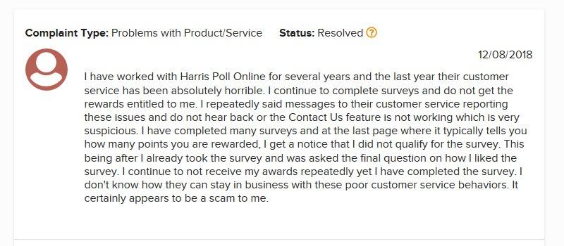 harris poll online complaint
