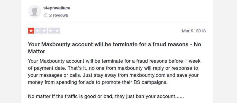 maxbounty account terminated for fraud