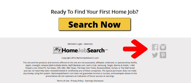my home job search misleading links