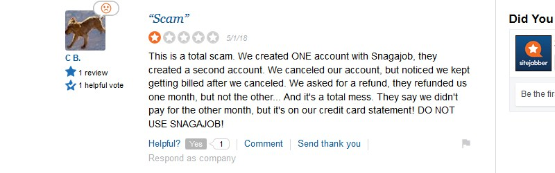 snagajob.com sitejabber complaint