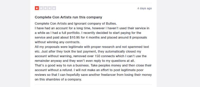 upwork trustpilot complaint