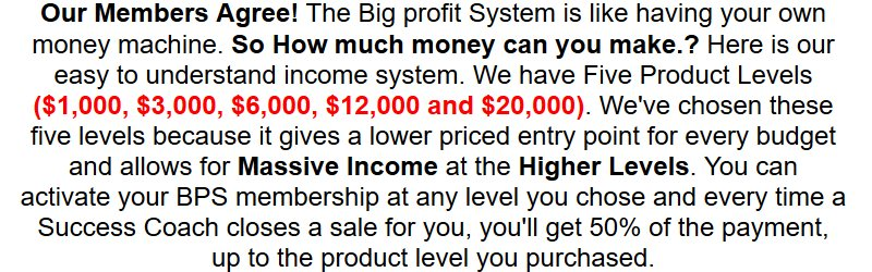 big profit system upfront fee