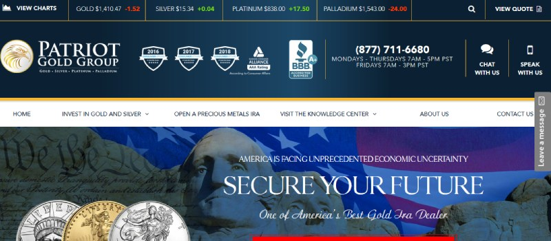 patriot gold group homepage