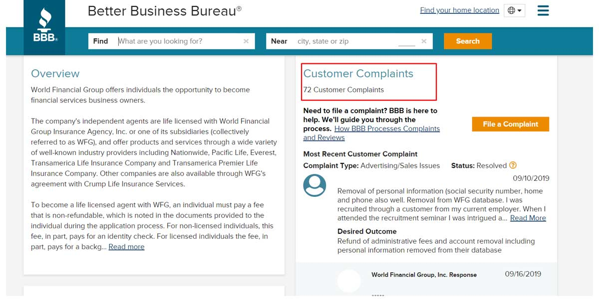 Is World Financial Group a Scam bbb complaints