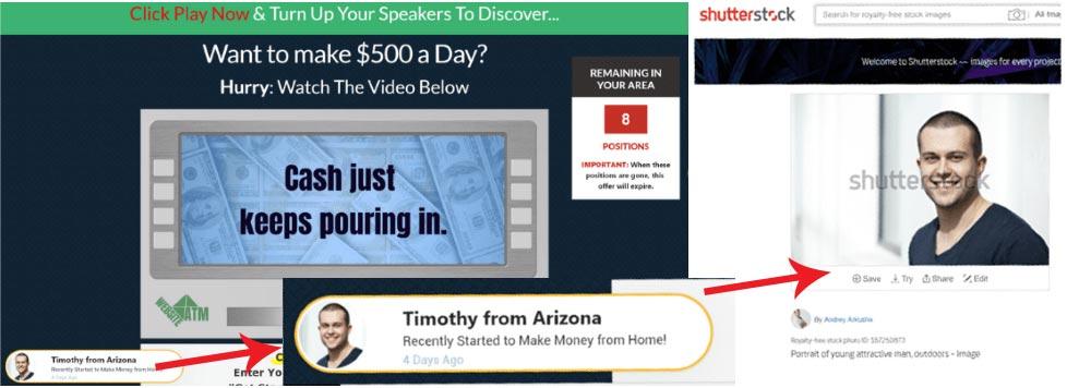 Website ATM scam fake testimonials