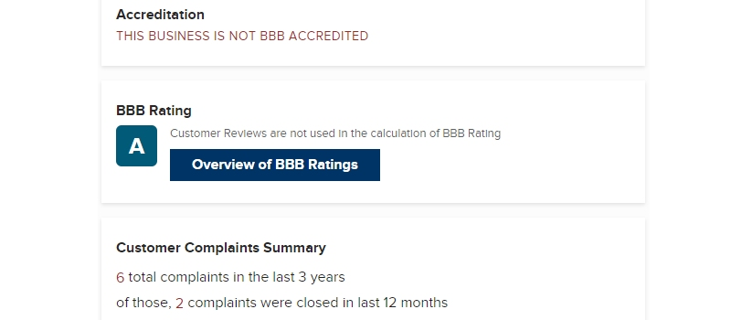 ysense bbb rating