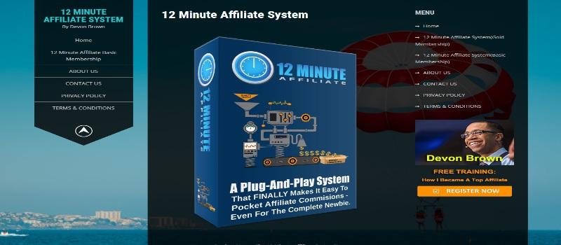 12 Minute Affiliate Homepage