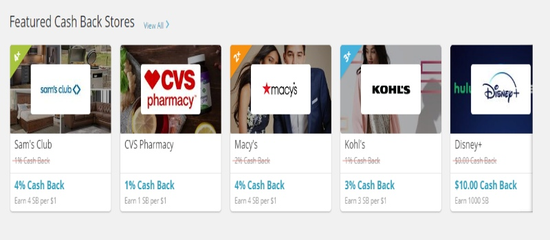 Featured Cash Back Stores of Swagbucks