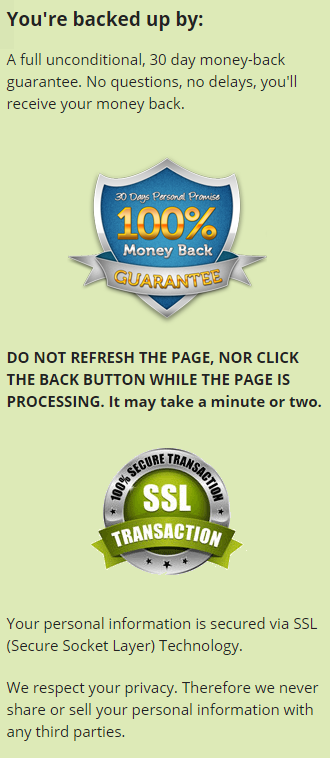 30-days money-backed guarantee and SSL protected.
