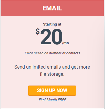 At Email Plan, price starts at $20 only