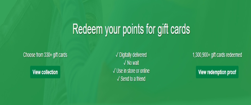 Redeem your points in InstaGC through gift cards