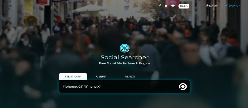 Social Searcher Homepage