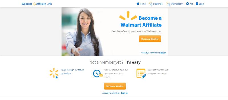 Walmart Affiliate Program Homepage
